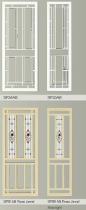 Hinged Doors with decorative glass panel inserts
